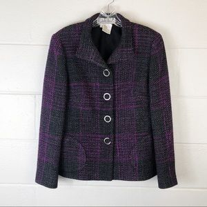 Carlisle Purple Black Tweed Snap Blazer Wool Blend